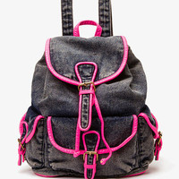 Neon Trim Denim Backpack | FOREVER21 - 1022509844