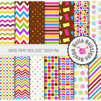 "Candy Buffet - 12x12"" Digital Pattern 14 Pack - candy, lollipops, jellybeans, gummybears, gumballs"