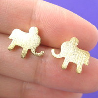 Simple Elephant Animal Stud Earrings in Gold with Sterling Silver Earring Posts from Dotoly Plus