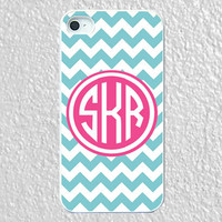 Monogram iphone 5 case - plastic - light blue chevron with pink monogram for iphone 5 case, monogram iphone 5, iphone5 cover