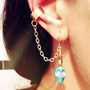 Turquoise Calavera Chain Ear cuff earrings by AtelierYumi on Etsy