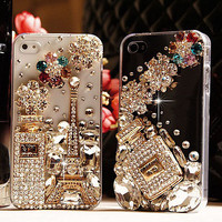 Unique Shiny Nice Rhinestone Hardmade Transparent Hard Cover Case For Iphone 4/4s/5