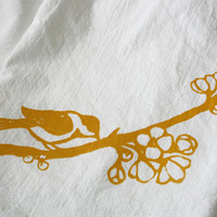 Flour Sack Towel Mustard Yellow Bird on Natural by UrbanBirdandCo