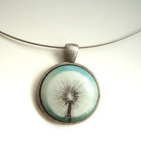 Hand Painted Dandelion Necklace Pendant, White Flower Design, Painted Jewelry, Original Artwork Choker