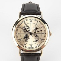 Zodiac Dial Watch- Gold One Size- Gold One
