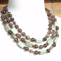 Smokey Quartz and Turquoise Multi Strand Statement Necklace