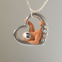 """fanART- """"Heart sloths hang around"""" -unique sloth, gift for her, cool gift for teenager, easter gift"""