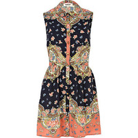 Orange Chelsea Girl paisley print shirt dress