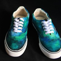 TuT TuT Fashion — Green Dreamy Galaxy Vans(Order to make)