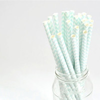 Paper Straw Chevron - Pale Blue x 25