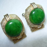 Vintage Swank Cuff Links Mesh Wrap Around Faux Jade Stone