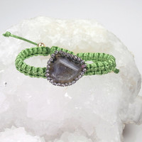 Tabasco Geode Slice Macrame Friendship Bracelet  Gemstone Slice Bracelet Diamond Look Bezel Lime Green Silk Macrame - Clarissa