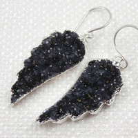 Black Drusy Wing Earrings Black Jasper Druzy Angel Wing Dangle Earrings Gift for Her Luxury Fashion
