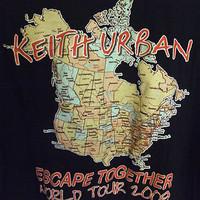 Keith Urban shirt 2009 World Tour Mens Tee Black XXL 2 graphics EscapeTogether