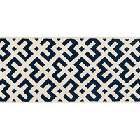 One Kings Lane - Cool Runnings - 2&#x27;3&quot;x7&#x27; Solange Runner, Dark Blue/Ivory