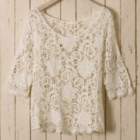 White Floral Mid-Sleeves Crochet Top