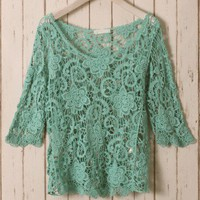 Green Floral Mid-Sleeves Crochet Top Green S/M