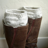 Fashion Cream Boot cuffs - Beige Leg Warmers - Cable knit boot toppers  - Winter fashion 2013 - Chunky - Machine Washable - WINTER SALE