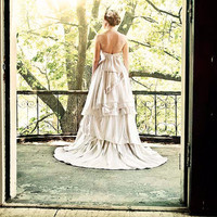 Larkspur Eco Wedding Gown, Detachable Underskirt- Short and Long in One