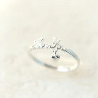 Tiny heart and love you ring in sterling silver