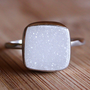 White Druzy Gemstone Ring - Cushion Cut - Sterling Silver