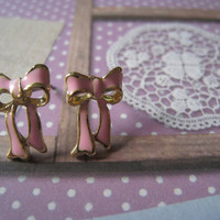 Pink Ribbon Bow Earring by Bitsofbling on Etsy