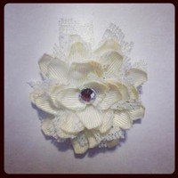 OffWhite Flower hair clip 368 by RABOGNER on Zibbet