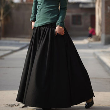Black woolen winter skirt by xiaolizi on Etsy