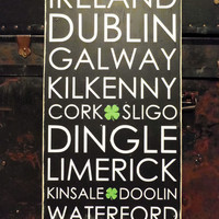 Irish Cities Subway Sign  Typography Wall Art by 13pumpkins