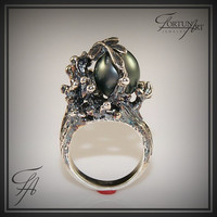 Black Tahitian Pearl Ring in Sterling Silver/ Handmade/ Engagement/ Big /  Oxidized