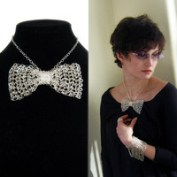 Bow tie necklace, wire crocheted, silver plated bow choker