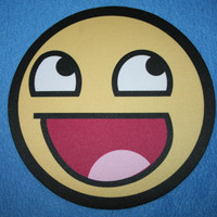 Awesome Smiley Mousepad Or Hot Pad 8 Inch Round by Valiantstudios
