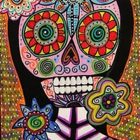 Day of the Dead Frida Pink Sugar Skull by SandraSilberzweigArt