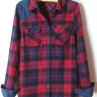 Blue Lapel Long Sleeve Plaid Pockets Shirt - Sheinside.com