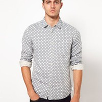 ASOS Chambray Shirt With Polka Dot at asos.com