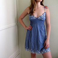 Vintage Blue Babydoll Mini Dress Eyelet Polka Dot Summer Spring Prairie Flowers Floral
