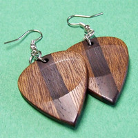Handmade Exotic Wood Guitar Pick Earrings
