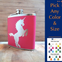 Unicorn Hip FLASK alcohol liquor booze wedding by EyvalDecal