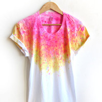 "The Original ""Splash Dyed"" Hand PAINTED Scoop Neck Pinned Rolled Cuffs Tee in White Spectrum Acid Pink - S M L XL 2XL 3XL"