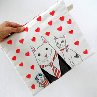 Hearts with Cat Family Clutch, Ipad Sleeve, Gadget case /   handbag
