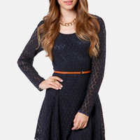 Black Sheep Mitzy Navy Blue Lace Dress