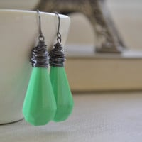 Jadite Green Lucite Earrings, Hipster Vintage Faceted, Gunmetal Wire Wrapped Earrings, Retro Green Earrings
