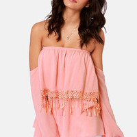 Tier Squad Off-the-Shoulder Blush Pink Lace Top