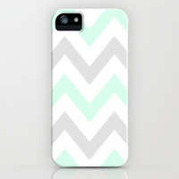 WASHED OUT CHEVRON (MINT & GRAY) iPhone Case by nataliesales | Society6