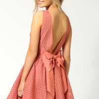 Mollie Floral Lace Low Back Bow Detail Net Skater Dress