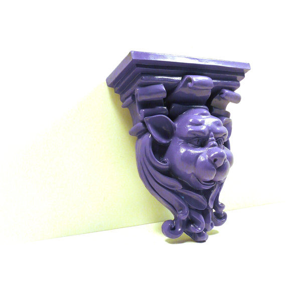 Gargoyle wall shelf goth purple home from nashpop on etsy for Gargoyle decor