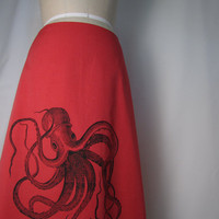 Red ALine Skirt with Black Octopus Screen Print by AngiesSweatshop