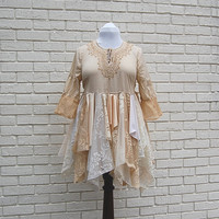 Fairy Woodland Blouse, Lace, Tattered, Shabby, Formal, Wedding, Boho, Hippie, Gypsy, Eco Earth Friendly, Upcycled Clothing