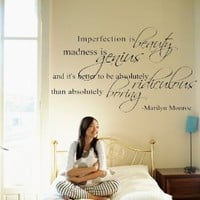 "Amazon.com: Marilyn Monroe Quote Decor ~ Imperfection is beauty ~ Vinyl Lettering Wall Decal Sticker Girls Dorm Bedroom Art Wall Tatoo Decor Girl's Birthday Gift Hotel mural - 31"" Black: Home & Kitchen"