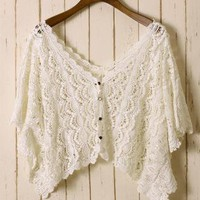 White Asymmetric Eyelet Crochet Top with V-Neckline